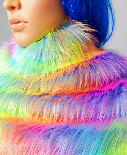 FAUX FUR FOX RAINBOW